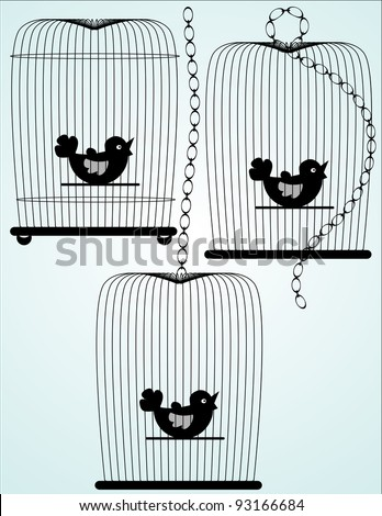 Three illustrated birdcage silhouettes in black - stock vector