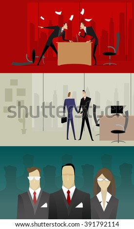 Three illustrations with businessmen who swear, make deal and an illustration of the selection of personnel. They can be used in the design on the theme of business law, corporate relations - stock vector