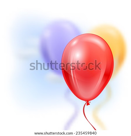 Three inflatable balloons in the air - vector illustration - stock vector