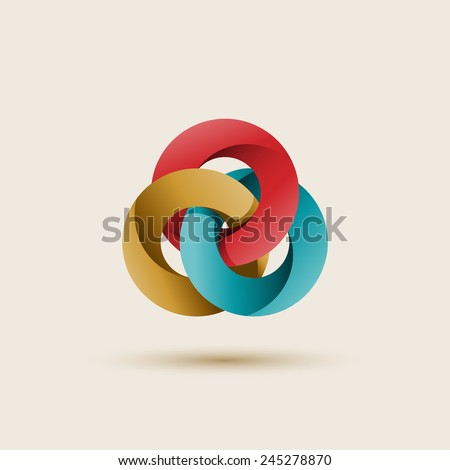 Three interlocking circles, abstract shape, vector illustration - stock vector
