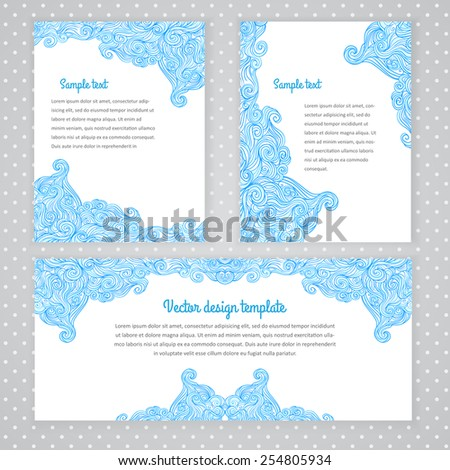 Three invitation card design with abstract wave background. Vector design template illustration for card, letter, banner. - stock vector