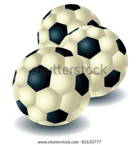 Three isolated soccer balls - stock vector