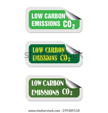 Three isolated stickers with the text low carbon emissions written on each sticker