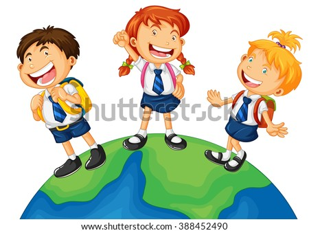 Three kids in school uniform standing on earth illustration - stock vector
