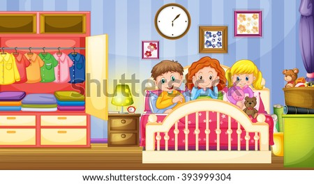 Kids bedroom stock vectors vector clip art shutterstock - Habitacion marron ...