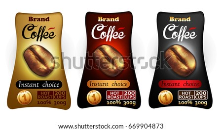 Three labels for coffee jars of different colors for various  types of coffee