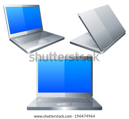 Three laptops with blue screen.