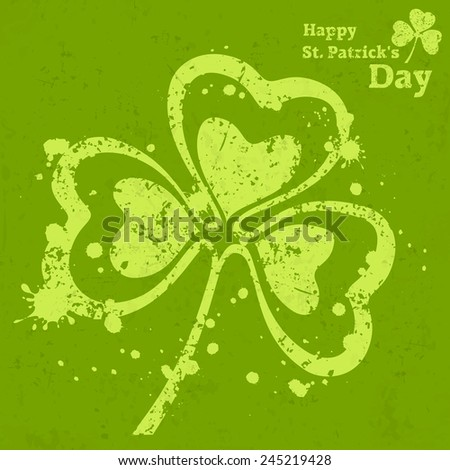 Three leaf clover grunge on green, vector illustration for St. Patrick's day  - stock vector