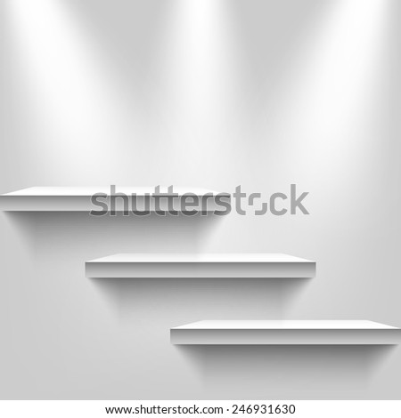 Three light sources with shelves on the wall background. Vector illustration, eps10.  - stock vector