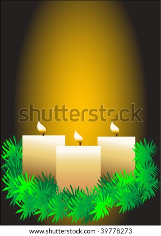 Three lit candles on pine wreath with glowing background