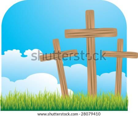 three little crosses - stock vector