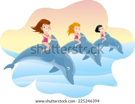 Three Little Girls Riding on the Jumping Dolphin's Back, with brunette and blonde little girls with pink swimming suit and lovely blue dolphins jumping out of the water together vector illustration. - stock vector
