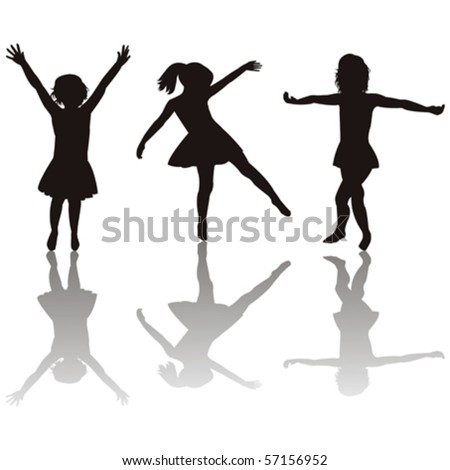 Three little girls silhouettes - stock vector
