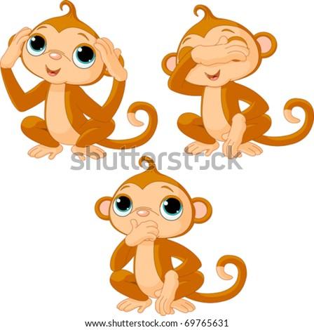 Three little monkeys. See no evil, speak no evil, hear no evil - stock vector