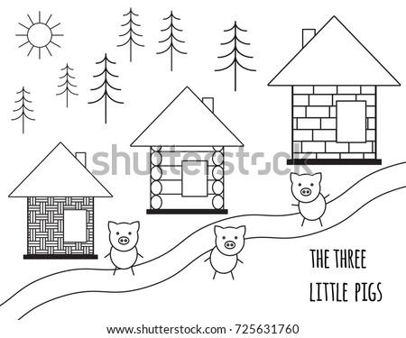 Three Little Pigs Fairy Tale Vector Stock Vector 725631760 ...
