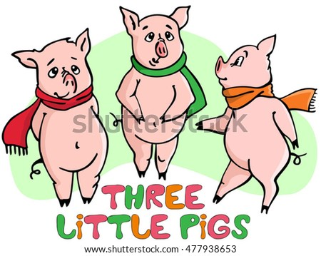 three little pigs vector illustration stock photo photo vector rh shutterstock com three little pigs clipart black and white 3 little pigs clipart black and white