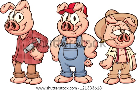 Three little pigs. Vector illustration with simple gradients. Each in a separate layer for easy editing. - stock vector