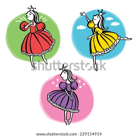 Three little princess - stock vector