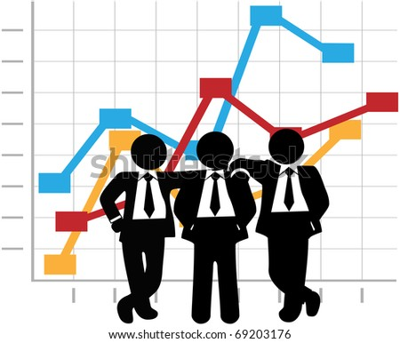 Three man team of sales people stand in front of a business profit growth success chart - stock vector