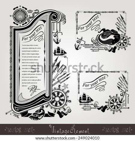 three marine style engraving banners or labels with vintage weapons and marine equipments - stock vector