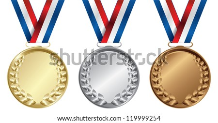Three medals, Gold, Silver and bronze for the winners - vector - stock vector