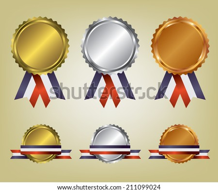 Three medals illustration - stock vector