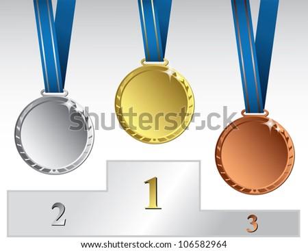 Three medals on podium - vector illustration - stock vector