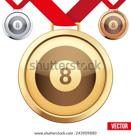 Three Medals with the symbol of billiard inside. Gold, Silver and Bronze. Vector Illustration isolated on white background. - stock vector