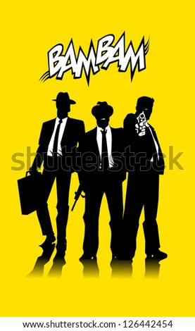Three men in black suits with a weapon (vector); - stock vector