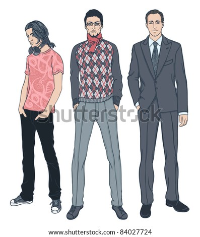 Three men of different ages vector illustration set - stock vector