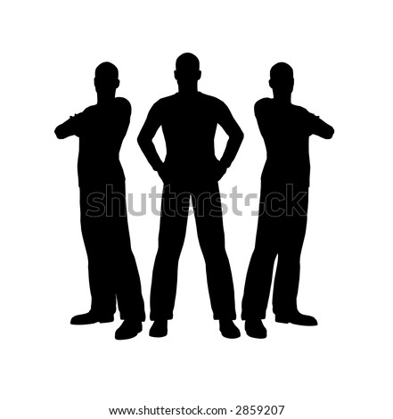 three men silhouette - stock vector