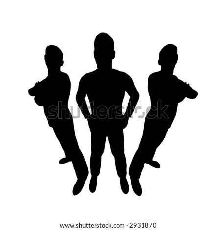 three men silhouette wide angle - stock vector