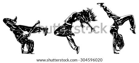 Three modern dancers silhouettes on white. - stock vector