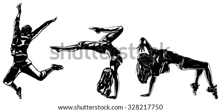 Three modern dancers silhouettes on white
