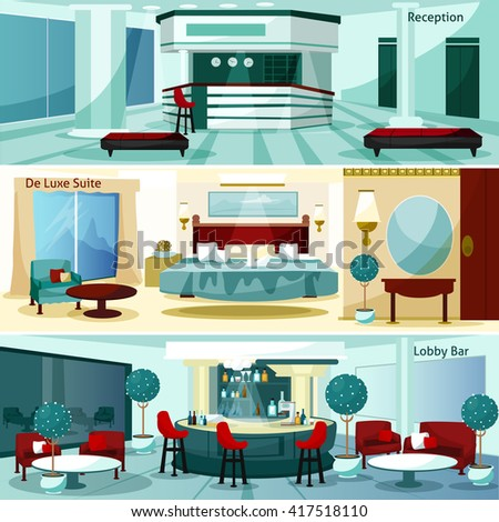 Three modern hotel interior de luxe suite and lobby bar horizontal banners cartoon vector illustration - stock vector
