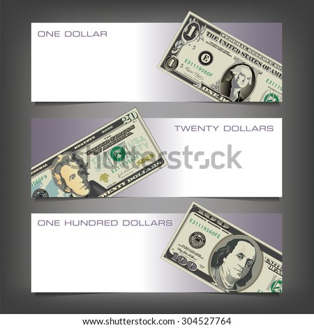 Three Money Banners with Space for Type - stock vector