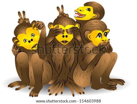Three monkey. See no evil, speak no evil, hear no evil - stock vector