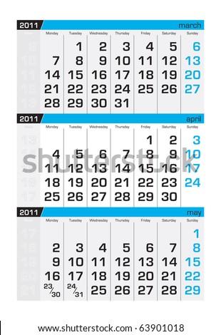Three-month calendar,april 2011 - stock vector