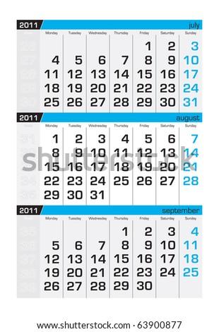 Three-month calendar,august 2011 - stock vector