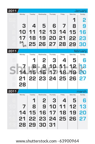 Three-month calendar,february 2011 - stock vector
