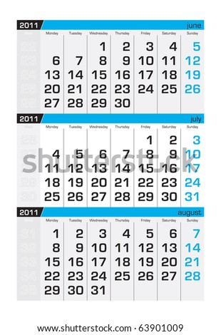 Three-month calendar,july2011 - stock vector