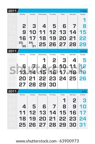 Three-month calendar,june 2011 - stock vector