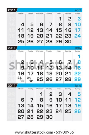 Three-month calendar,may 2011 - stock vector