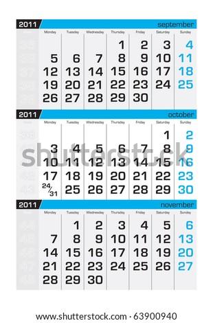 Three-month calendar,october 2011 - stock vector