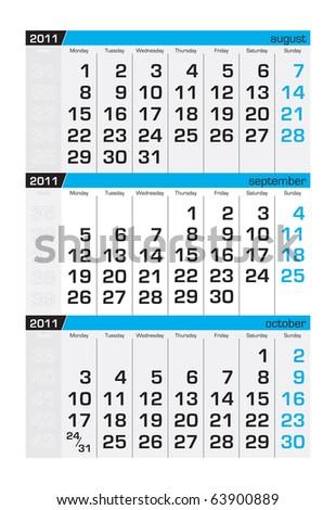 Three-month calendar,september 2011 - stock vector