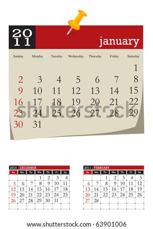three-month desk calendar, january 2011 - stock vector