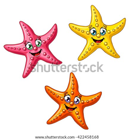 stock vector three multi colored cheerful cute starfishes on a white background red yellow and orange cartoon 422458168