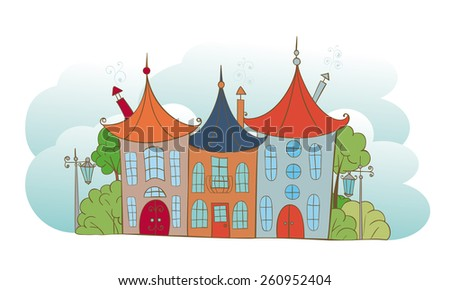 Three multicolored fairy house on a background of clouds - stock vector
