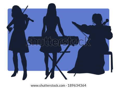 Three musicians silhouettes - stock vector