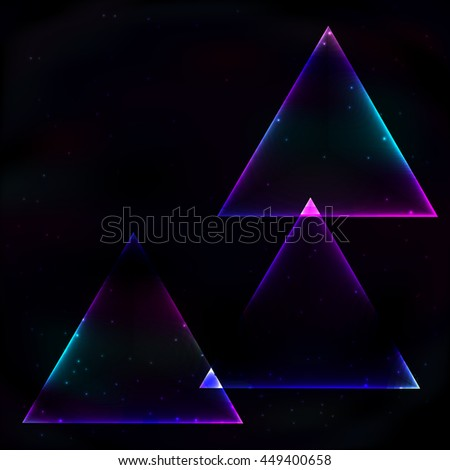 Three neon glowing triangle soap in retro style on background of the cosmos.
